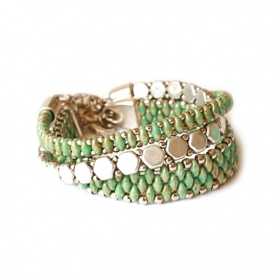 Armband Set WOVEN TREASURES Groen / Zilver