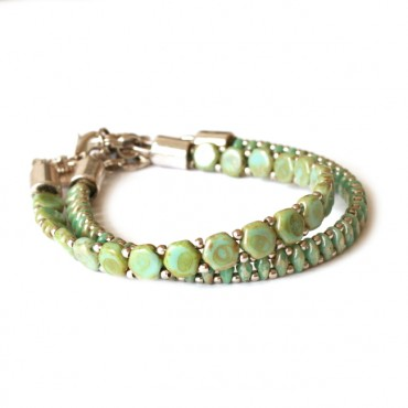 Armband Woven Treasures Set Green Picasso