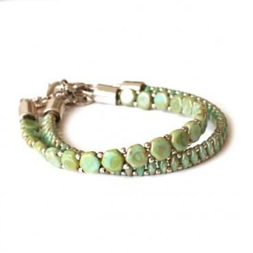 Armband Woven Treasure  Small Green Picasso
