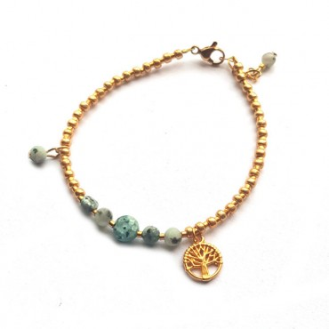 Armband | Natuursteen | Groen | Goud