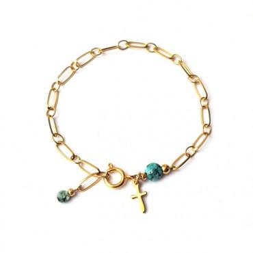 Armband | RVS | c h a i n | Natuursteen Groen
