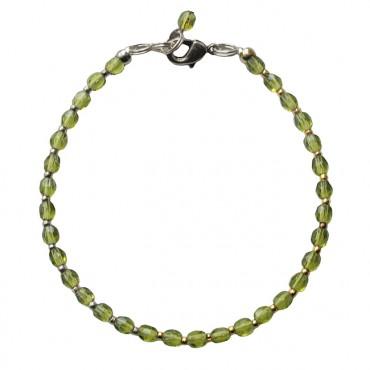 Armband basic glas facet olijfgroen