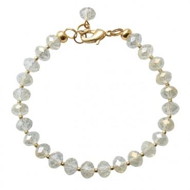 Armband basic shiny facetglas wit