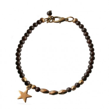 Armband basic star donkerbruin