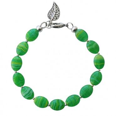 Armband basic glas 'stripe' groen