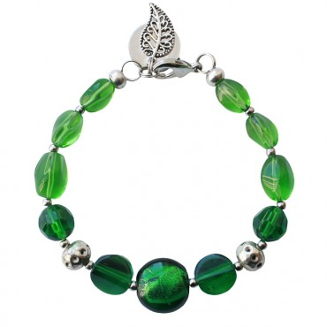 Armband basic glas mix groen