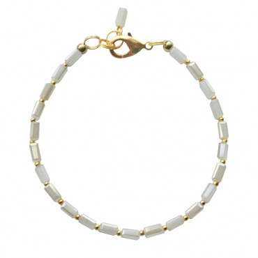 Armband rectangle glas wit/beige