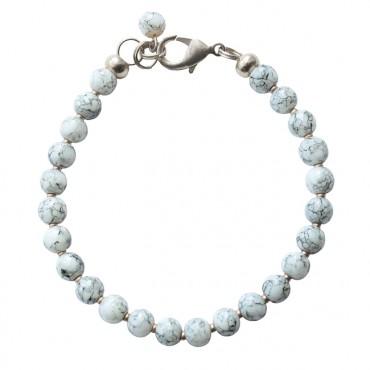 Armband | MIXIT | rond lichtgrijs marmer