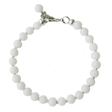 Armband glas rond 6mm wit opal