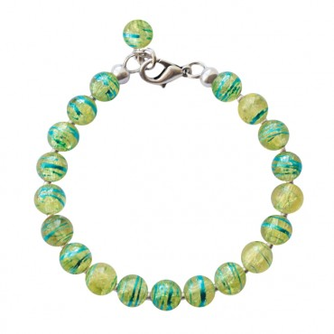 Armband Glas rond 8mm groen/blauw
