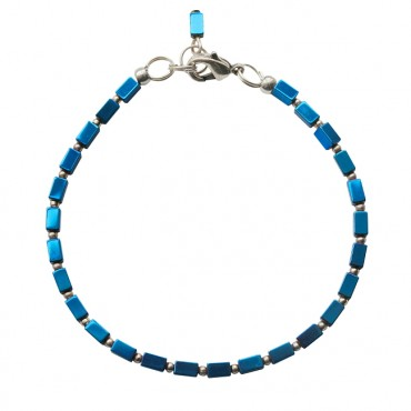 Armband rectangle hematiet blauw