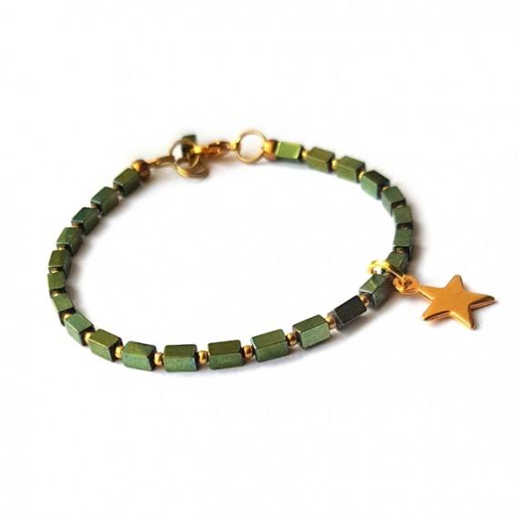 Armband rectangle / star groen
