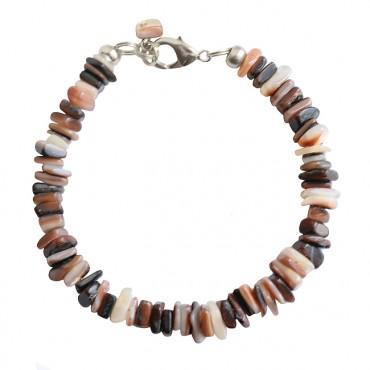 Armband basic schelp mix bruin