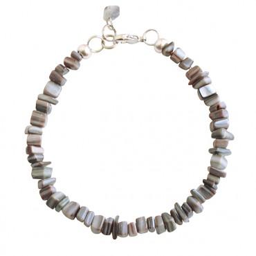 Armband basic schelp grijs