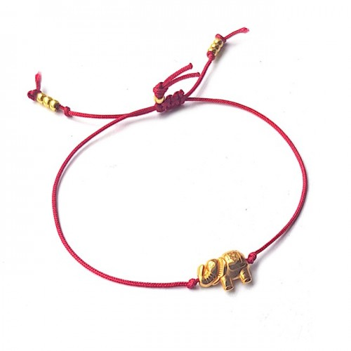 Armband Lucky Elephant Rood | Zilver of Goud