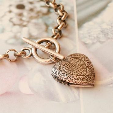 Armband medaillon hart