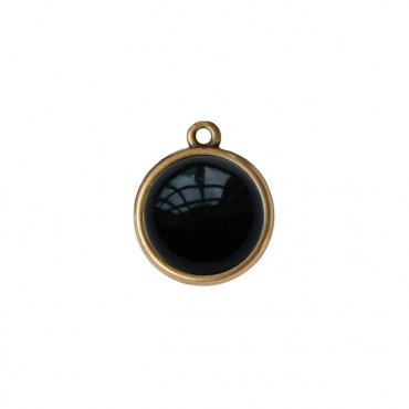 Bedel/Hanger agaat zwart brons