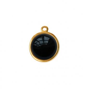 Bedel/Hanger agaat zwart goud