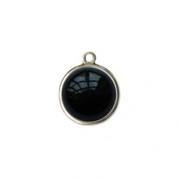 Bedel/Hanger agaat zwart zilver
