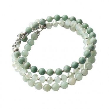 Armband combi facet/halfedelsteen groen