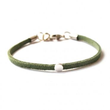 Armband Faux Suède Dot Groen