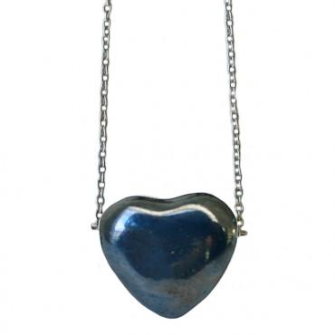 Ketting keramiek hart donkerblauw