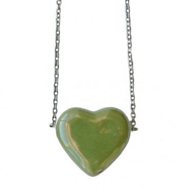 Ketting keramiek hart groen