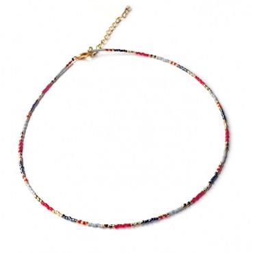 Ketting | Fine Miyuki Multicolor Rood | Zilver of Goud