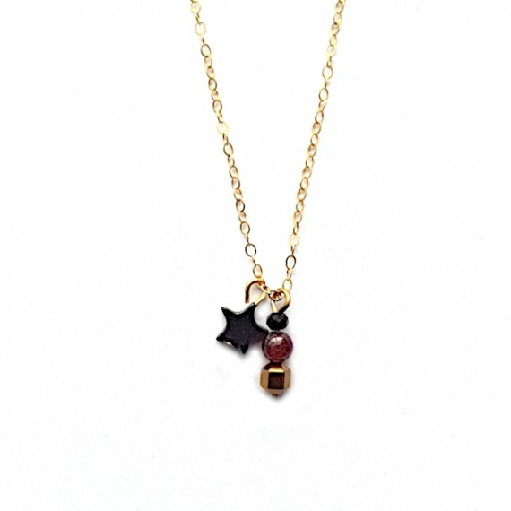 Ketting tiny hematite star Gold Filled