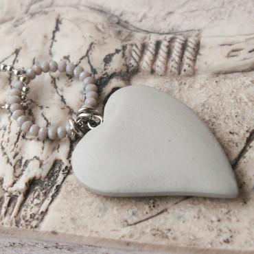 Ketting Wooden Heart, grijs