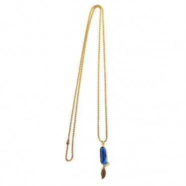 Ketting Oval Crystal Donkerblauw
