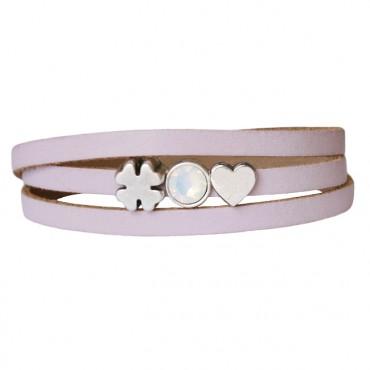 Armband leder Luck & Love lichtroze