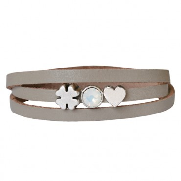 Armband leder Luck & Love lichttaupe