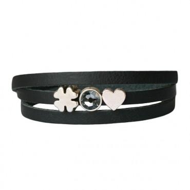Armband leder Luck & Love zwart