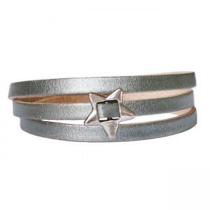 Armband Leder Basic Star zilver