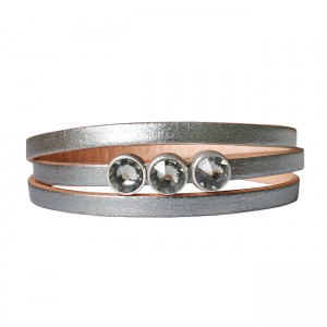 Armband Leder triple cabochon zilver