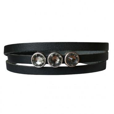 Armband Leder triple cabochon zwart
