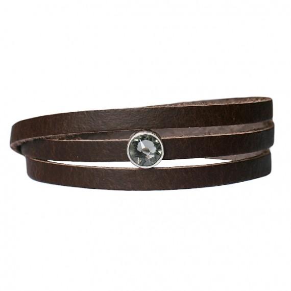 Armband Leder cabochon kristal bruin