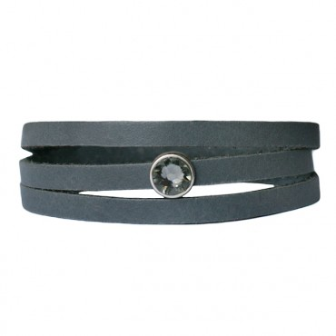 Armband Leder cabochon kristal grijs