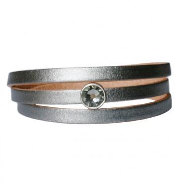Armband Leder cabochon kristal zilver