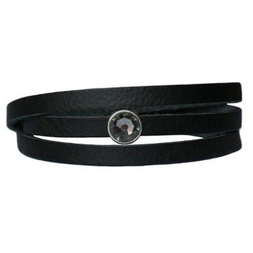 Armband Leder cabochon kristal zwart