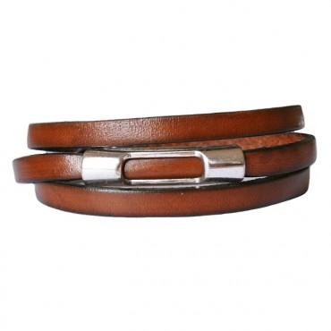 armband leder wikkel Tube open vintage bruin