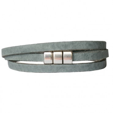 Armband Leder wikkel voorsluiting grijsblauw