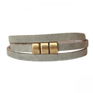 Armband Leder wikkel voorsluiting grijsgroen