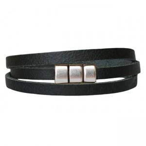 Armband Leder wikkel voorsluiting zwart