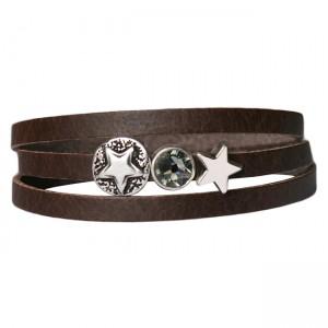 Armband leder combi stars crystal bruin
