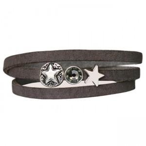 Armband leder combi stars crystal donkergreige