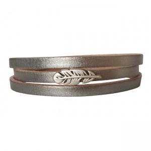 Armband Leder Feather zilver