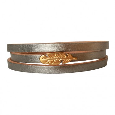 Armband Leder Feather zilver