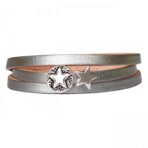 Armband Leder Stars combi zilver